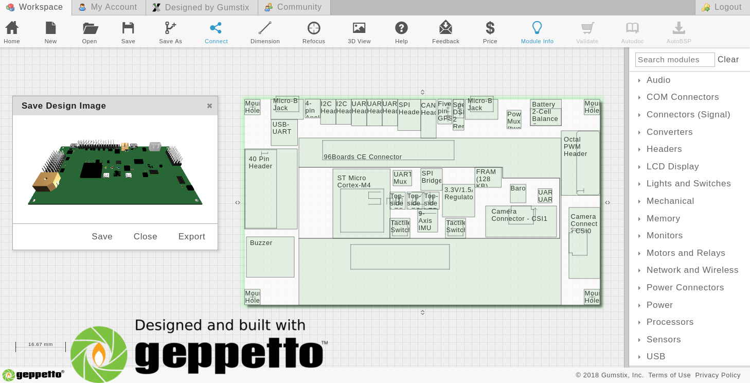 Geppetto screenshot of the updated AeroCore 2CD for Dragonboard 410C